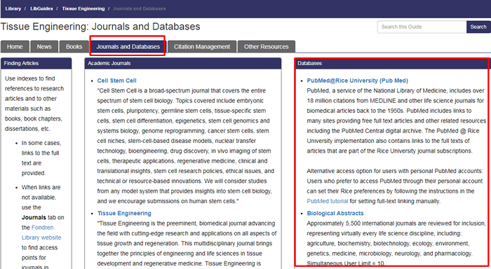 """Screenshot of the """"Journals and Databases"""" tab of Fondren's Tissue Engineering research guide with the tab name and """"Databases"""" box boxed in red."""