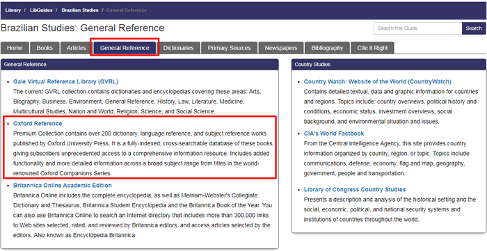 """Screenshot of the """"General Reference"""" tab in Fondren's Brazilian Studies research guide with the tab name and a suggested database boxed in red."""