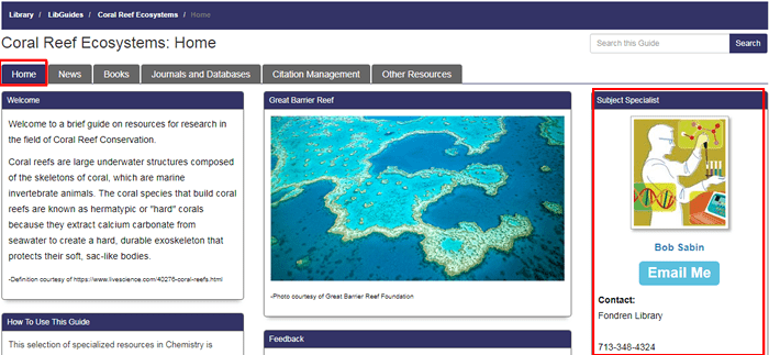 Screenshot of the homepage of Fondren's Coral Reef Ecosystems research guide with the contact information for the guide's librarian boxed in red.