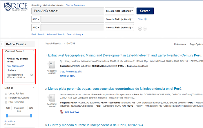 """Screenshot of a Historical Abstracts search for """"Peru and econo*"""" between 1824 and 1834 with the search details boxed in red."""