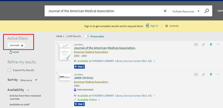 "Screenshot of OneSearch search results for ""Journal of the American Medical Association"" with the ""Journals"" filter applied."