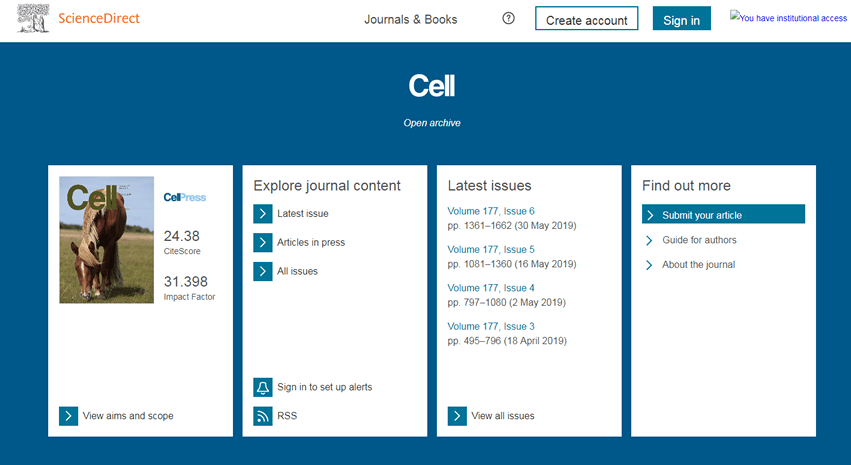 Screenshot of the homepage for the journal Cell.