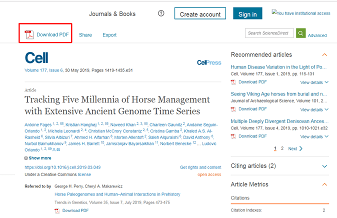 """Screenshot of the page for the article """"Tracking Five Millennia of Horse Management with Extensive Ancient Genome Time Series"""" from the journal Cell."""
