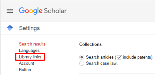 """Screenshot of the Google Scholar settings page with """"Library links"""" boxed in red."""