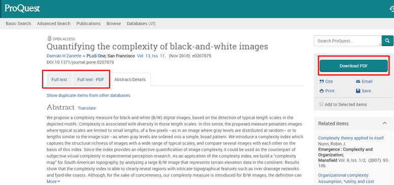Screenshot of an article's record in ProQuest.