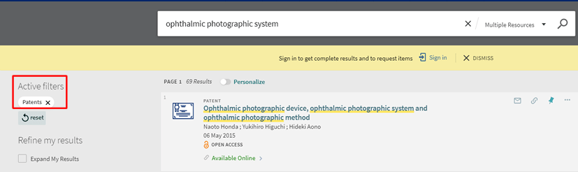 "Screenshot of a OneSearch search for ""ophthalmic photographic system"" with the ""Patents"" filter applied."
