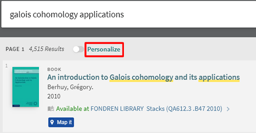 "Screenshot of a OneSearch search results page with ""Personalize"" boxed in red."