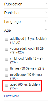 """Screenshot of the """"Refine Results"""" options for PsycINFO with the """"Age"""" facet open and """"aged (65 yrs & older)"""" boxed in red."""