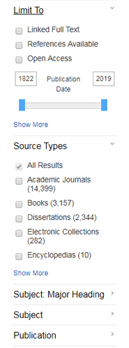 Screenshot of the filters available for search results in PsycINFO.