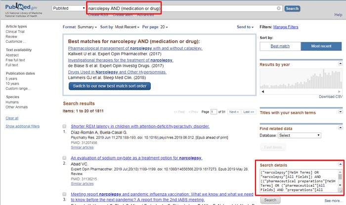 """Screenshot of a PubMed search for """"narcolepsy AND (medication OR drug)"""" with the search string and """"Search details"""" box boxed in red."""