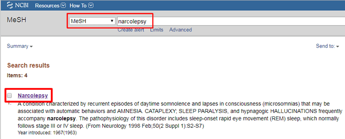 """Screenshot of a PubMed search for MeSH terms matching """"Narcolepsy"""" with the search bar and the top result boxed in red."""