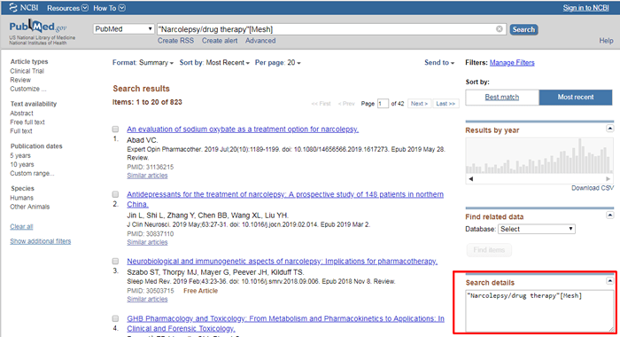 Screenshot of a PubMed search for Narcolepsy/Drug therapy using MeSH terms with the search details box boxed in red.