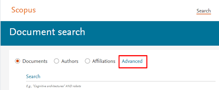 """Screenshot of the Scopus homepage with """"Advanced"""" above the main search bar boxed in red."""