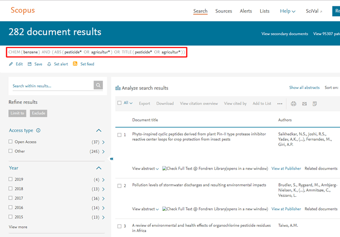 Screenshot of a Scopus search for benzene and pesticides or agriculture with the search string boxed in red.