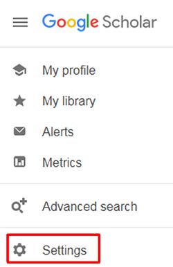 "Screenshot of Google Scholar's open hamburger menu with ""Settings"" boxed in red."