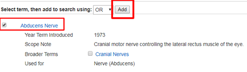 """Screenshot of a subject heading page in PsycINFO with the checked term and """"add"""" button boxed in red."""