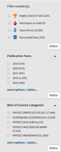 Screenshot of several facets in Web of Science.