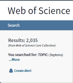 """Screenshot of the number of search results for a topic search for """"leptons"""" in Web of Science with filters applied."""