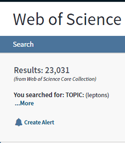 """Screenshot of the number of search results for a topic search for """"leptons"""" in Web of Science."""