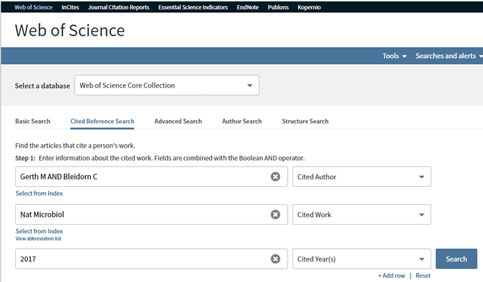 Screenshot of filled-in search fields for a Web of Science reference search.