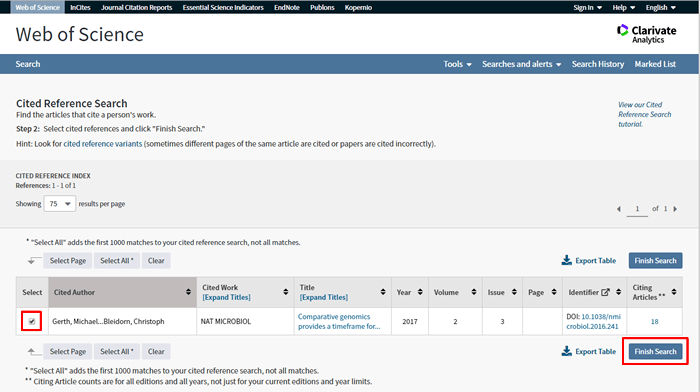 Screenshot of a the second step of a Web of Science cited reference search with the correct article checked.