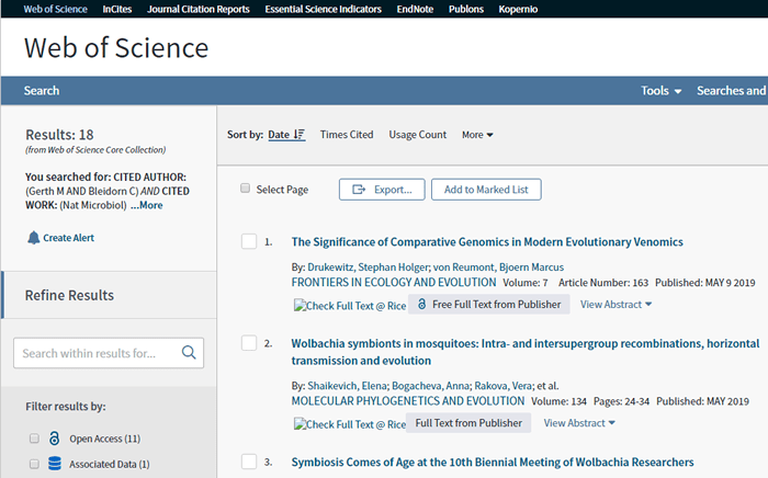 Screenshot of a Web of Science cited reference search for a 2017 Nature Microbiology article.