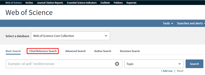 """Screenshot of the Web of Science search homepage with """"Cited Reference Search"""" boxed in red."""