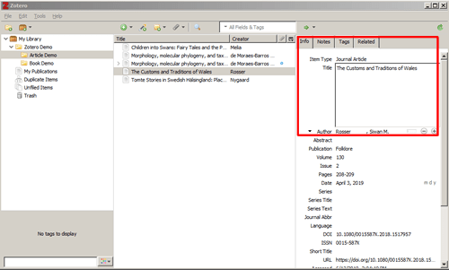 Screenshot of a Zotero reference with the title field open for editing and boxed in red.