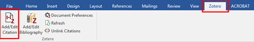 Screenshot of the Zotero tab on Microsoft word with Zotero and Add/Edit Citation boxed in red.