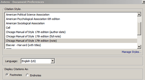 Screenshot of the options box that appears when first inserting a citation into a Word document with Zotero.