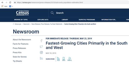 Screenshot of a news item from the Census Bureau.