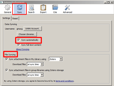 """Screenshot of the """"Sync"""" tab in Zotero preferences with the """"Sync automatically"""" setting and """"File Syncing"""" section boxed in red."""
