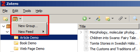 Screenshot of the Zotero brown folder icon's drop-down menu open and boxed in red.