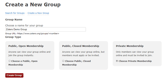"""Screenshot of the """"Create a New Group"""" page on Zotero's website."""