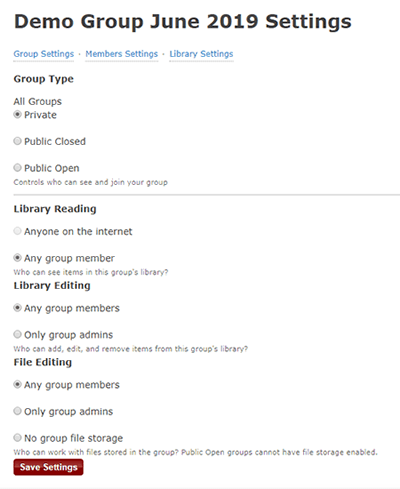 Screenshot of the settings page for a new group on Zotero's website.