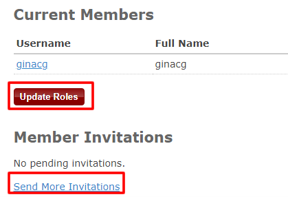 """Screenshot of a """"Manage Members"""" page for a Zotero group with """"Update Roles"""" and """"Send More Invitations"""" boxed in red."""