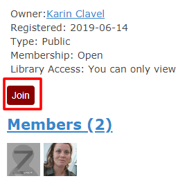 """Screenshot of information for a Zotero group with """"Join"""" boxed in red."""