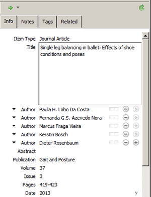 Screenshot of a manually added reference in Zotero.
