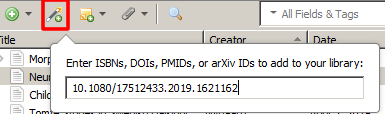 Screenshot of the magic wand icon in Zotero open and a DOI number pasted in.