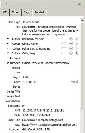 Screenshot of a reference added to Zotero by DOI.