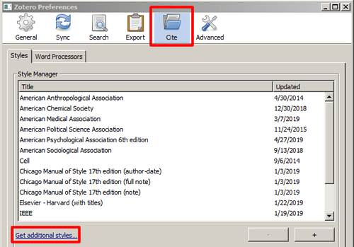"""Screenshot of the """"Cite"""" tab in Zotero's preferences window with """"Get additional styles..."""" boxed in red."""