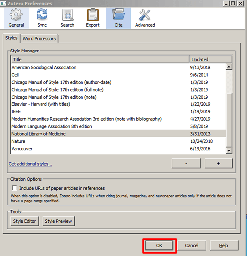 """Screenshot of the """"Cite"""" tab in Zotero preferences with """"OK"""" boxed in red."""