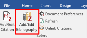 """Screenshot of the icons in the Zotero tab in Microsoft Word with """"Add/Edit Bibliography"""" boxed in red."""