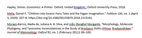 Screenshot of a bibliography generated in Microsoft Word by Zotero.