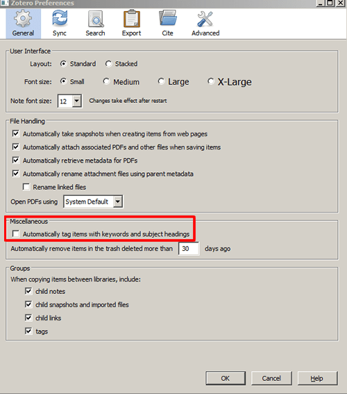 Screenshot of the Zotero General preferences box with the automatic tag setting unchecked and boxed in red.