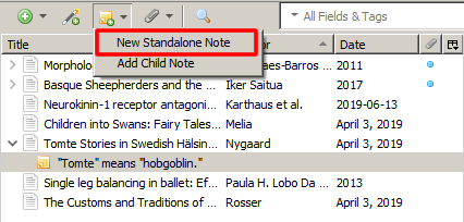 """Screenshot of Zotero with the drop-down menu for the sticky note icon open and the option """"New Standalone Note"""" boxed in red."""