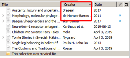 Screenshot of a Zotero reference list sorted in alphabetical order by creator with the creator label and references below it boxed in red.