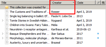 Screenshot of a Zotero reference list sorted in reverse alphabetical order by creator with the Creator heading and the references below it boxed in red.