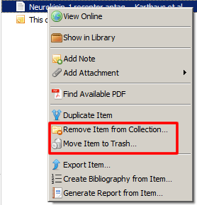 """Screenshot of the drop-down menu that appears when a reference in Zotero is right-clicked with """"Remove Item from Collection..."""" and """"Move Item to Trash..."""" boxed in red."""