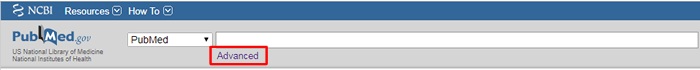 """Screenshot of the search bar on PubMed's homepage with """"Advanced"""" boxed in red."""
